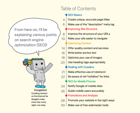 Preview Table of Contents - Google Search Engine Optimization Starter Guide